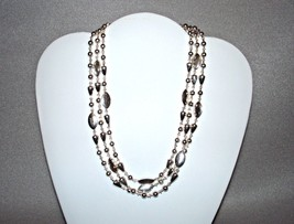 Vintage NAPIER Silver Tone Triple Strand Metal Beaded Necklace Signed - $49.95