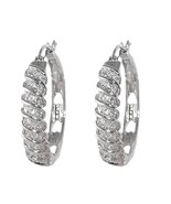PAVE BRAIDED STYLE FRONT CLEAR CUBIC ZIRCONIA HOOP EARRINGS 30MM RHODIUM PLATED - $31.68