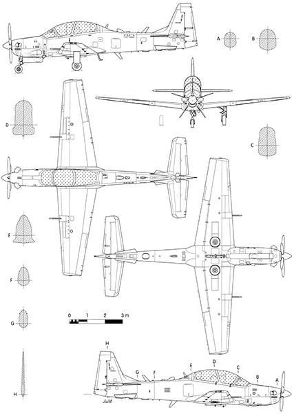 Primary image for Embraer EMB 314 Super Tucano - Blueprint Poster