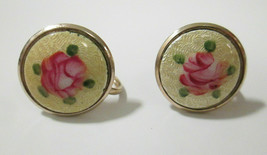 Pink Painted Rose Guilloche Enamel Round Gold Tone Screwback Earrings Cl... - $14.50