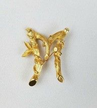 Vintage Sarah Coventry 1960's signed letter M pin brooch bamboo vine design - $19.80