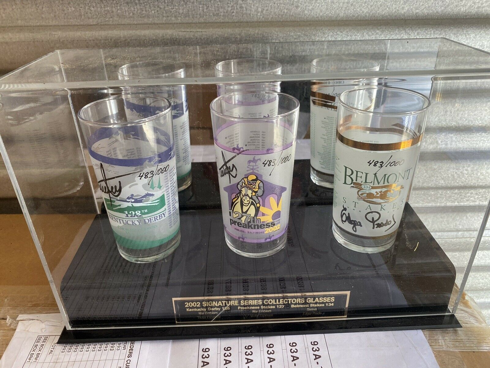 Primary image for 2002. Signature Series Collectors Glasses Kentucky Derby  Preakness Belmont MINT