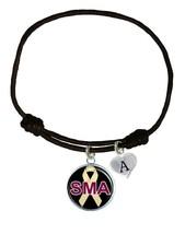 Custom Spinal Muscular Atrophy Awareness Black Leather Unisex Bracelet Jewelry - $13.94