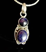 Starry sky Blue Goldstone Necklace Sterling silver Gold Flakes silver je... - $125.00