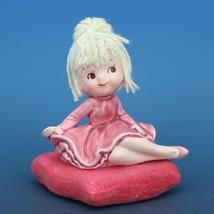 Vintage Japanese Mophead Girl Figurine on Velvel Flocked Pink Pillow
