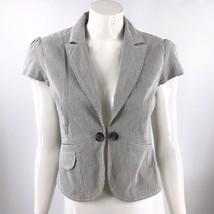 Ann Taylor Loft Blazer 4 Gray White Striped Cap Sleeve Career Jacket Hook Eye - $19.55