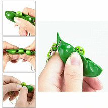 2021 New Key Tags Toys Peas  Pop It Fidget Squishy Beans Keychain - Pack of 5 image 1