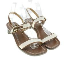 LAUREN Ralph Lauren Women's Leather Fabric Sandals Heels Ankle Strap Sho... - $24.70