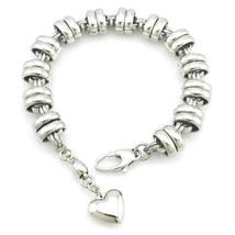 High Polished Stainless Steel Heart Charm Bracelet Women Or Men Fashion ... - $11.98