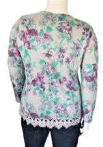 Bonworth Women's Long Sleeve Top with Wide Lace Trim Size L image 3
