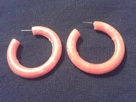 Stunning Vintage Estate Marbled Orange Plastic Hoop Earrings - $3.00
