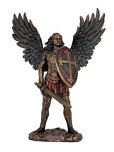 Archangel Michael without Devil Statue, Cold-Cast Bronze, 13.5 inches - $148.96