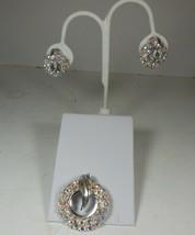 Vintage Silver Tone & Aurora Borealis Pin & Earrings - $27.71