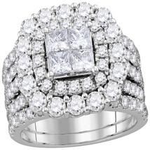 14k White Gold Princess Diamond Cluster Halo Bridal Wedding Ring Set 4-1/2 Cttw - $5,199.00