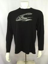 O'Neill Long Sleeve T Shirt L Large Mens Black Gray Logo Henley Cotton - $39.19