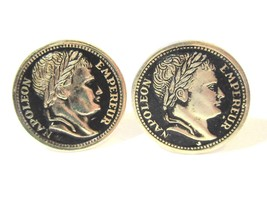 CUFFLINKS VINTAGE GOLD TONE FAUX COIN EMPEREUR NAPOLEON MID CENTURY GOLD... - $23.00