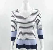 Talbots Womens Linen Sweater Size Medium White Navy Blue Striped V Neck ... - $29.70