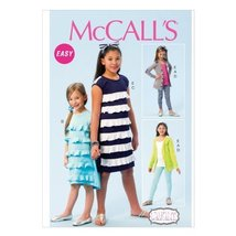 McCall Pattern Company M6949 Children's/Girls' Cardigan, Dresses, Belt, Leggings - $15.68