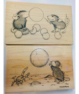BALLOON BURST BEACH BALL TOSS House Mouse 2 Rubber Stamps  Mice Stampa Rosa  Lot - $36.41
