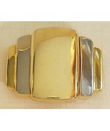 Vtg 1988 Liz Claiborne Art Deco Design Gold & Silver Tone Metal Belt Buc... - $20.00