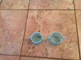 Fenton Glass Blue Hobnail Small Cream And Sugar - $22.52