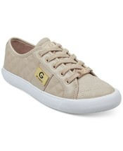 G by Guess Women's Lace Up Leather Quilted Pattern Sneakers Shoes Natural