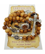 Olive Wood Rosary Beads Catholic With Jerusalem Holy Soil Cross & Certif... - $13.92