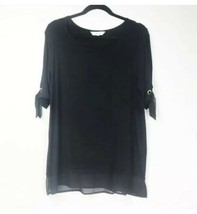 Ellen Tracy Womens Basic Black Short Sleeve Blouse w/ Sleeve Ties Size L... - $27.72