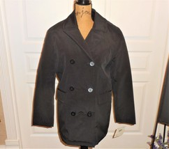 Liz Claiborne Double Breasted Syntech Black Fashion Coat Polyester Water Repelle - $24.73