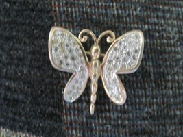 PANETTA Butterfly Pin Signed Gold tone Rhinestone Figural  RARE Vintage - $33.16