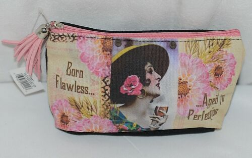 GANZ Brand Born Flawless Aged to Perfection Lady With Wine Glass Makeup Bag