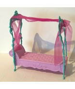 Barbie Canopy Bed Sofa Daybed Couch Mattel Pink and Blue with Draped Fabric - $19.99