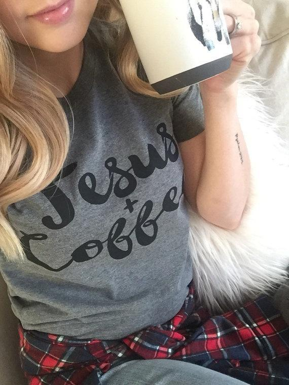 2017 Summer Fashion Women Funny Coffee and Jesus T-shirt Letter Print Short Slee