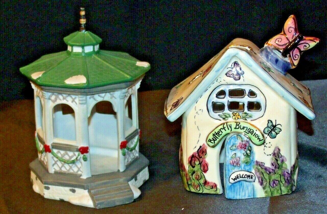 House Village (Candle Holders) AA20-2061 Vintage Pair