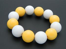 Yellow White Acrylic Round Ball Stretch Bracelet Fashion Retro Vintage - $19.79
