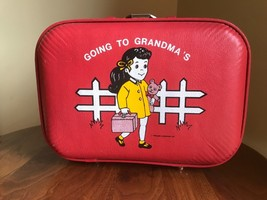 GOING TO GRANDMAS VINTAGE 1960s RED HARD SHELL CHILDREN SUITCASE LUGGAGE... - $33.66