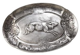 Tray Leaping Stag Deer Relief Rustic Mountain Oval New - $279.00