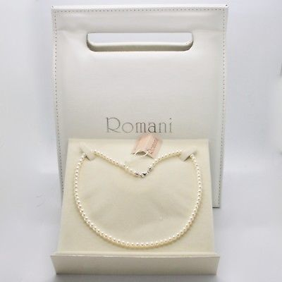 18K WHITE GOLD & 925 SILVER NECKLACE PEARLS 4.5 5 MM BEAUTIFUL BOX MADE IN ITALY