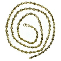 """SOLID 18K YELLOW GOLD MARINER NAUTICAL CHAIN OVAL 3mm, 24"""", ITALY MADE, NECKLACE image 2"""