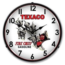 """Collectable Sign and Clock 1102296 14"""" Texaco Fire Chief Pups Lighted Clock - $129.95"""