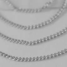 18K WHITE GOLD CHAIN 17.7 MINI CUBAN CURB GOURMETTE LINK 1 MM, MADE IN ITALY image 2