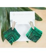 Kendra Scott Astoria Gold Green Veined Calsilica Large Drop Earrings NWT - $93.56