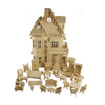 Gothic Doll House Wooden Assembly 3D Model Puzzle DIY Play Toy With Furn... - $64.00