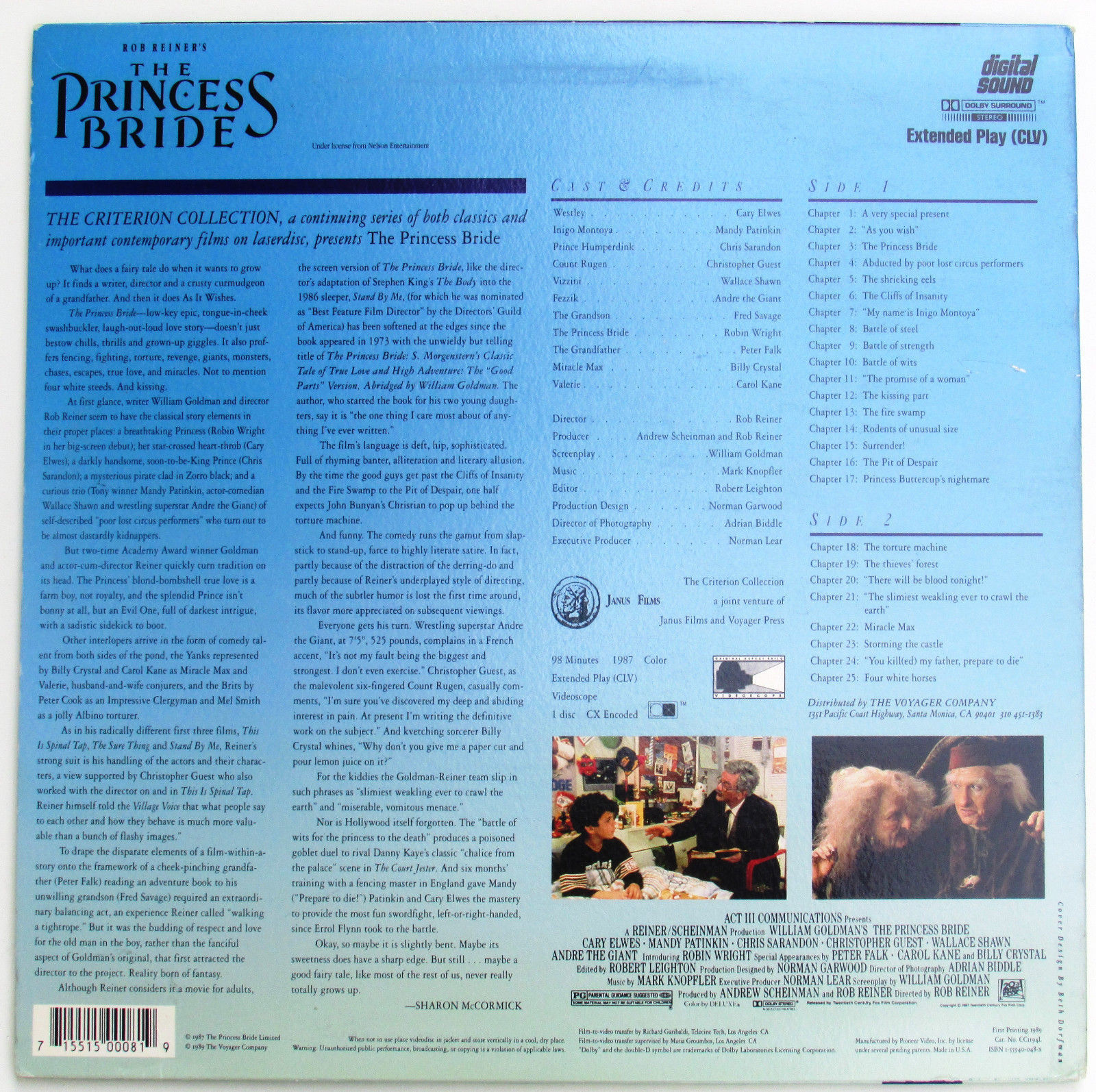 The Princess Bride on Laserdisc Cary Elwes and Robin Wright Comedy Fantasy Movie