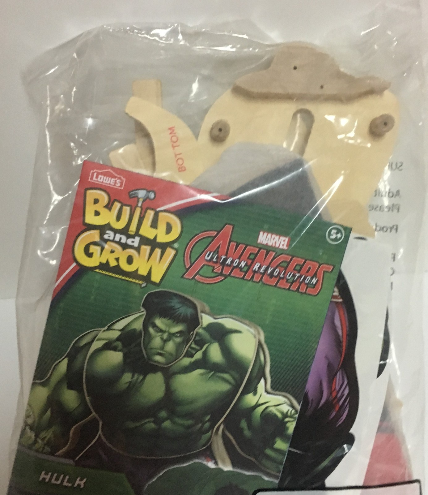 Lowe's Avengers Build & Grow Hulk Ages 5+ Wood Toys