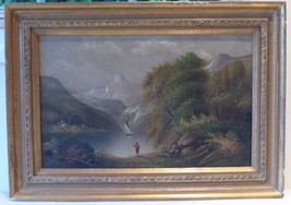 OLD ANTIQUE SIGNED AND FRAMED LANDSCAPE OIL ON CANVAS PAINTING - $700.00
