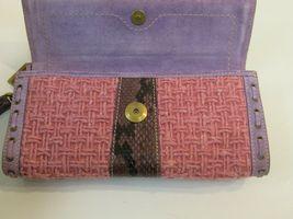 Coach Wristlet Tweed Purple Suede Wallet Buckle Handbag Clutch Monogram C image 7