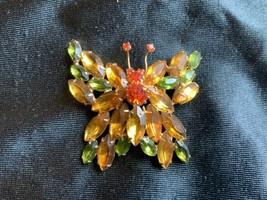Vintage Juliana Fall Orange Green Yellow Rhinestones Butterfly Brooch Pin - $110.00