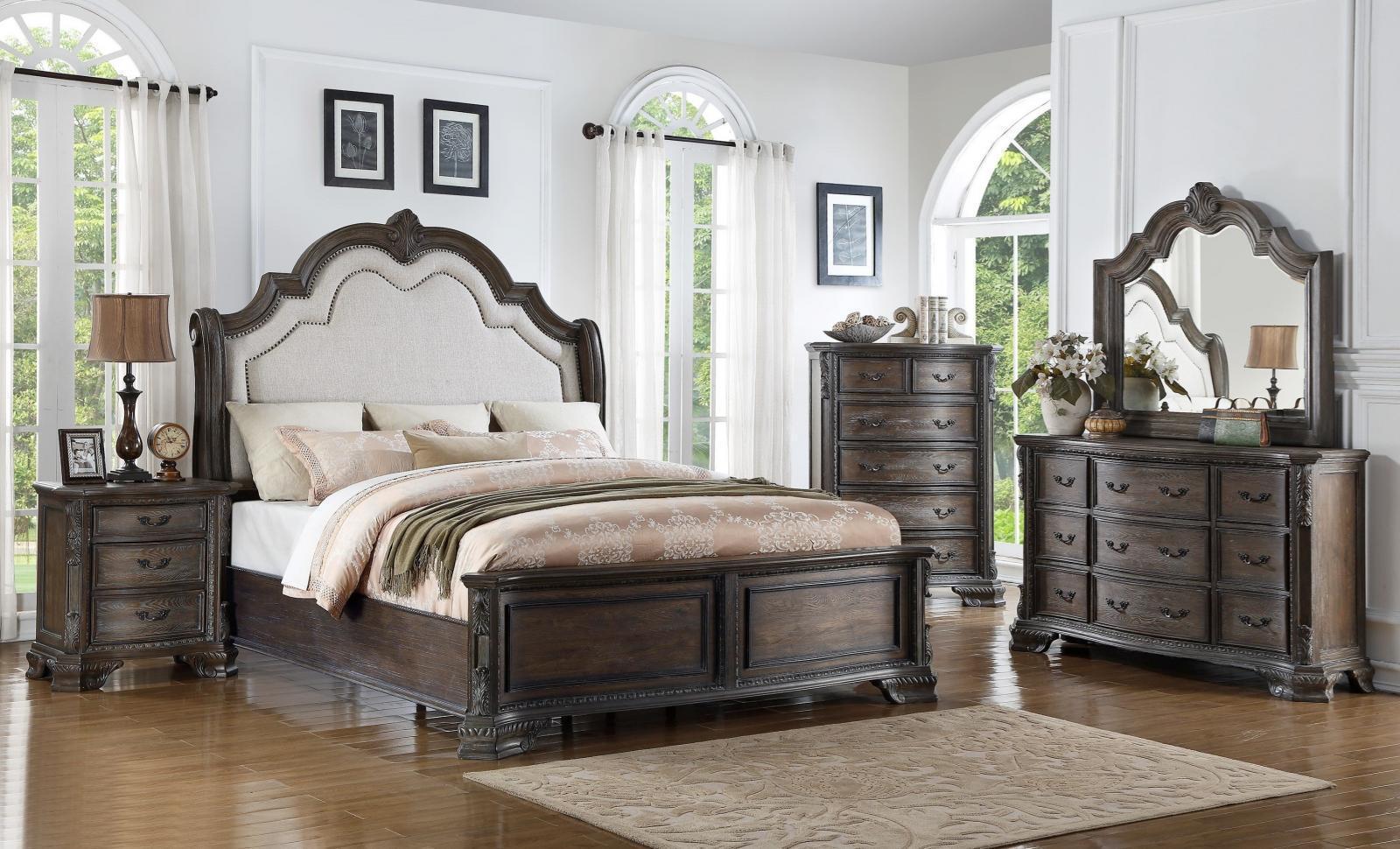 antique grey finish solid wood queen bedroom set 3pcs crown mark b1120 sheffield bedroom sets. Black Bedroom Furniture Sets. Home Design Ideas