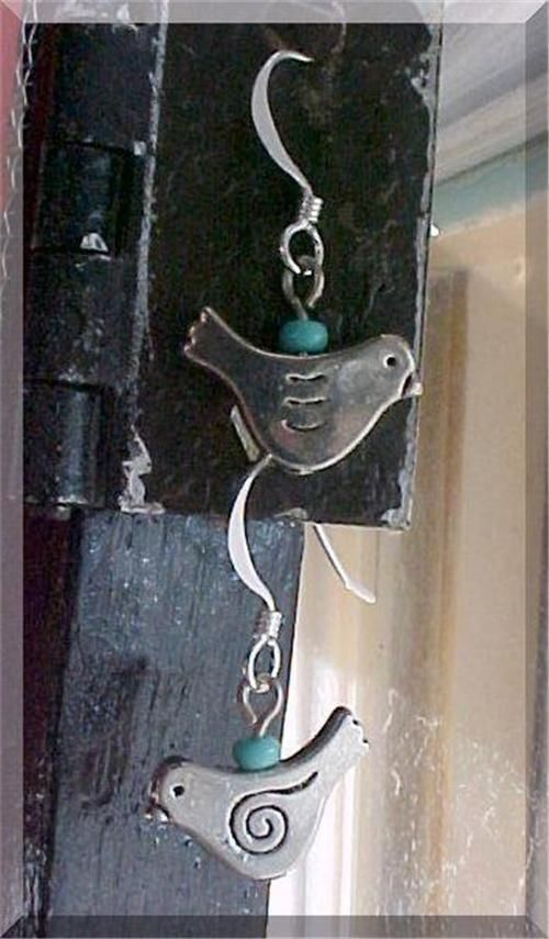 Girls Earrings Fashion Dangle Charm Little BLUE BIRD Steampunk STERLING SILVER